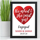 He Asked She Said Yes PERSONALISED Engagement Gifts for Couples Congratulations