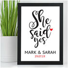 Engagement Gifts for Couples Personalised She Said Yes Engagement Print Presents