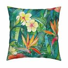 Hibiscus Watercolor Orange Throw Pillow Cover w Optional Insert by Roostery