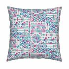 Tribal Boho Bohemian Watercolor Throw Pillow Cover w Optional Insert by Roostery