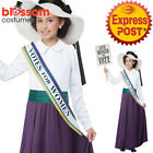 CK1386 Girl American Suffragette Victorian Vote Costume History Book Week Outfit
