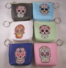 """Sugar Skull Day of Dead 3.5"""" Coin Pouch Purse Keychain Choice Of Color New image"""