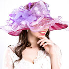 Women Girl Foldable Organza Derby Church Hat Ruffles Wide Brim Spring Bridal Cap