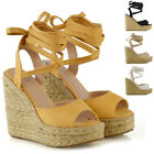 Womens Wedge Heel Lace Up Sandals Ladies Peep Toe Platform Espadrilles Shoes