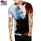 Casual 3D Print Wolf T-Shirts Mens Womens Animal Print Tee shirt Graphic Tops US