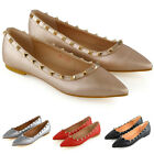 New Womens Pointed Ballet Flats Ladies Studded Slip On Pumps Shoes Size 3-9