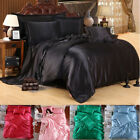 4 PCS Solid Silk Bedding Sets Sheets Duvet Cover Pillowcase Sheet Twin King Size image
