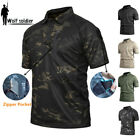 Mens Military T-Shirt Army Combat Shirt Tactical POLO Hiking Camping Camouflage