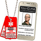 Men's Lady's Red Alert ID Identity Tag SMS SOS Pendant ANY Condition Medications