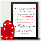 PERSONALISED 1st 2nd 5th 10th 25th Wedding Anniversary Engagement Couples Gifts