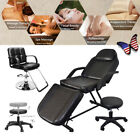 Adjustable Beauty Barber Chair Table Bed Tattoo With Stool Dual Use Black US