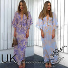UK Womens Ladies Summer V Neck Plunge Floral Belted Kimono Long Maxi Dress 6-14