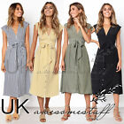 UK Womens Ladies Summer Sleeveless V Neck Striped Button Belted Midi Dress 6-16