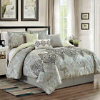 Chezmoi Collection 7-Piece Paisley Scroll Medallion Embroidery Comforter Set image
