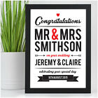 Wedding Congratulations Gifts for Bride and Groom PERSONALISED New Mr & Mrs Gift