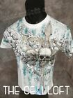 NEW MENS KONFLIC GRAPHIC T SHIRT in White Winged Skulls Gold Foil Highlights MMA