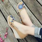 retro classic Womens Wedge Heel Slip On embroidery Old Beijing cloth shoes