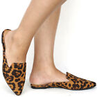 New Women Leopard Pointy Toe Mules Flats Slip On Slippers