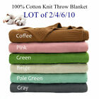 100% Cotton Warm Knitted Throw Decorative Blanket for Couch Lot of 2/4/6/10 image