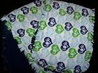 "CLEARANCE! Handmade Baby ""Rag"" Burp Cloths Set of 2 - Blue/Green Love"