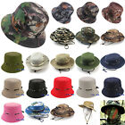Mens Boonie Bucket Hat Sun Snap Cap Camo Military Hunting Fishing Hiking Outdoor