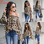 Women Tops Long Sleeve Leopard Print Off Shoulder Loose T Shirt Casual Blouse