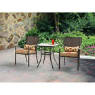 3 Piece Wicker Outdoor Bistro Set Square Table Chairs Patio Furniture Garden New