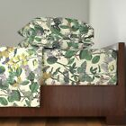 Butterfly Botanical Flower Floral 100% Cotton Sateen Sheet Set by Roostery image