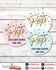 Ready To Pop  Round Personalized Baby Shower Sticker Labels  Pop Gold Glitter