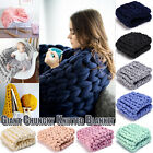 Chunky Wool Yarn Knitted Blanket Mat Merino Thick Throw Arm Knit Blanket Sofa US image