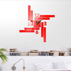 Modern DIY Wall Clock 3D Mirror Surface Sticker Removable Home Office Decor US