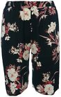Ladies New Lightweight Pull On Shorts Black Floral Print Elastic Waist Culottes