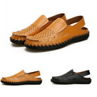 Mens Solid Slingbacks Slip On Hollow Out Casual Outdoor Flat Breathable Shoes