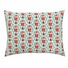 Nutcracker Xmas Holiday Christmas Fabric Red And Green Pillow Sham by Roostery image