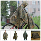 PVC Waterproof Hooded Ripstop Festival Rain Poncho Military Camping Hiking USA