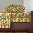 Mid Century Tiki Floral Orange Vintage 100% Cotton Sateen Sheet Set by Roostery