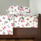 Watercolor Flowers Watercolor Floral 100% Cotton Sateen Sheet Set by Roostery image