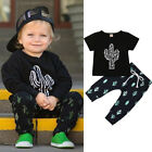 US Toddlers Baby Boys Cactus T shirt Tops+Kids Pants Outfit Sets Summer Clothes