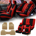 Car SUV Seat covers for Auto w/ Beige All Weather Floor Mats 12 Color Options