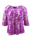 INC International Concepts Women's Plus Size Bell-Sleeve Printed Top