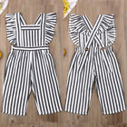 US Toddler Kid Baby Girls Striped Romper Jumpsuit Clothes Outfits Set Playsuit