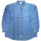 100% Cotton Men's Long Sleeve Button Down Collar  Blue Denim Shirt SZ: M,1XL-4XL