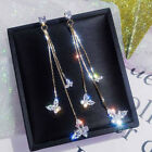 Butterfly Star Long Tassel Drop Dangle Earrings Cubic Zirconia Hoop Ear Studs image