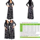 shekiss Women's Sexy V Neck Floral Long Sleeves Maxi Dresses Casual Loose Party