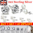 Solid 925 Sterling Silver Studs Earrings Pearl Jewelry Geometric Dangle Round