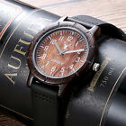 LeeEv Mens Wooden Watch Solid Wood Relogio Masculine Leather Band Wood Watch Men image