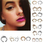 Charm Fake Septum Clicker Crystal Nose Ring Non Piercing Hanger Clip On CC