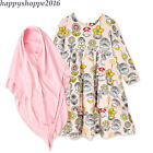Arab Toddler Baby Traditional Sets Cotton Layered Dress Muslim Girl Abaya Hijab