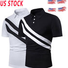 USA Mens Shirts Short Sleeve Stripe Basic Tee Casual T -Shirt With Button Tops image