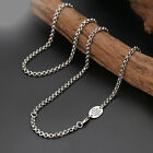 Pure S925 Sterling Silver Chain Retro Double Circle Link 六字真言 Oval Card Necklace